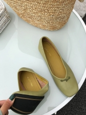 Soft Solid Bow Decor Flats For Women