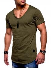 Casual V Neck Solid Color Short Sleeve Men Tee