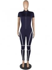 Stand Neck Contrast Color Skinny Jumpsuit