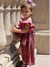 Lace Patchwork Irregular Ruffled Sleeves Girls Dress