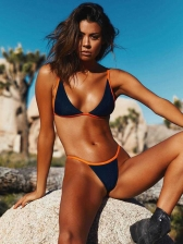 Sexy V Neck Contrast Color Two Pieces Swimwear