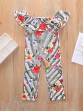Off Shoulder Striped Flower Printed Girls Jumpsuits