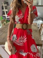 V Neck Short Sleeve Floral Maxi Dress
