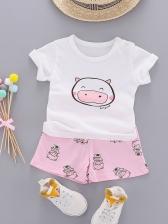 Lovely Cartoon Printed Short Sleeves Baby Sets