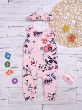 Flower Printed Sleeves Baby Rompers With Bow