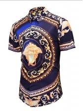 Vintage Printing Turndown Collar Short Sleeve Shirt