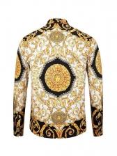 Retro Flower Printed Turndown Neck Long Sleeve Shirt