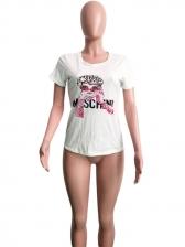 Crew Neck Printing Short Sleeve T-shirt For Women