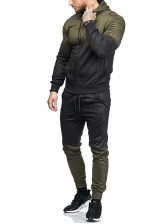 Contrast Color Hooded Sporty 2 Pieces Sets For Men
