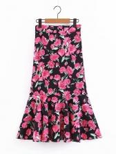 Flower Printed High Waist Ruffle Hem Skirt For Women