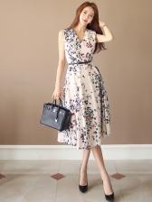 V Neck Floral Printed Sleeveless Midi Dress