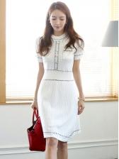 Knitting Button Decor Short Sleeves Dresses