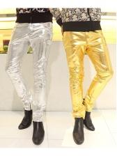 Night Club Solid Pu Long Pants For Men