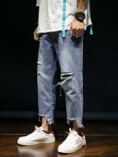 Summer Ninth Distressed Jeans For Men