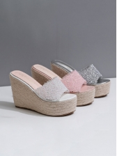 Rhinestone Patchwork Wedge Slippers For Women