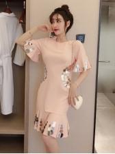 Korean Sequin Decor Ruffles Hem Short Sleeve Dress