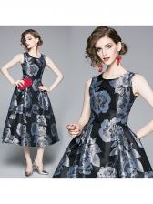 Euro Smart Waist Floral Large Hem Dress