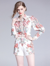 Vintage Print Single-Breasted 2 Pieces Shorts Outfit