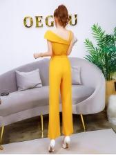 One Shoulder Tie-Wrap Solid Color Straight Jumpsuit