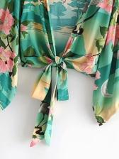 Kimono Flower Printed Lace Up Cardigan 2 Piece Sets
