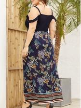 Patchwork Printed Straps Maxi Dress