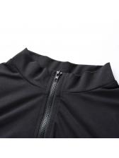 Sexy Zipper Letter Skinny Sporty Black Jumpsuit