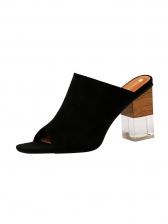 Peep Toe Suede Chunky Heels Ladies Slipper