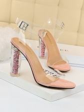 Fashion Night Club Transparent Ankle Strap Heels