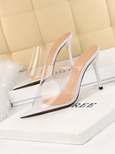 Simple Design PVC Pointed High Heels Slippers