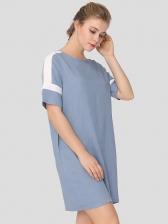 Casual Patchwork Ladies Short Sleeve Dress