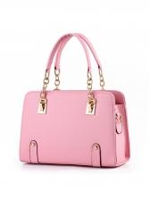 Large Capacity Solid Chain Patchwork Handbag