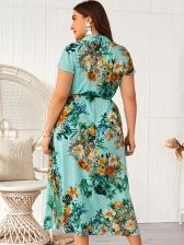 Fashion Flower Printed Female Short Sleeves Dresses