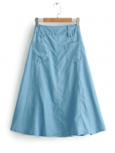 Simple Design High Waist Buckle A-line Denim Skirts