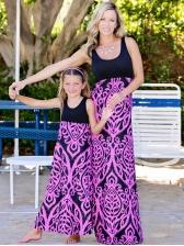 Summer Mother And Girls Printed Sleeveless Maxi Dress