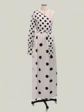 Chic Single-Shoulder Tie-Wrap Polka Dot Maxi Dress