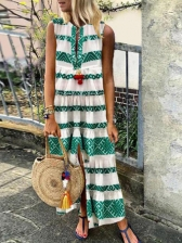 Contrast Color Printed Pleated Ladies Maxi Dress