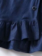 Fashion Ruffled Hem High Waist Denim Skirts