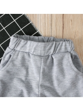 Solid Short Sleeve Hoodies With Long Pants For Boys