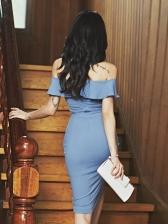 Solid Off Shoulder Ruffled Bodycon Short Sleeve Dress