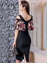 Printed Patchwork v Neck Bodycon Chiffon Dresses