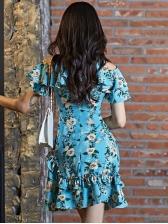 Cold Shoulder Smocked Waist Flower Ruffles Dress