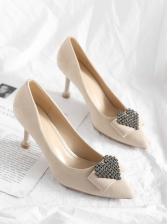 Heart Design Rhinestone Patchwork Pointed High Heels