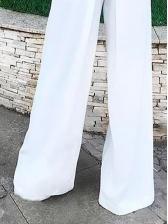 Euro V Neck Sleeveless White Wide Leg Jumpsuit