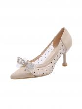 Fashion Rhinestone Patchwork Bow Pointed High Heels