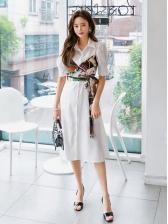 Polo Collar Printed Puff Short Sleeve Shirt Dress