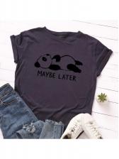 Crew Neck Panda Printed Short Sleeve T-shirt