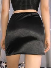Satin Buttons Split Hem Black Short Skirts
