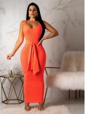 Deep U Neck Solid Tie-Wrap Maxi Dress