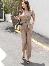Fashion Lapel Collar Binding Cargo Jumpsuit