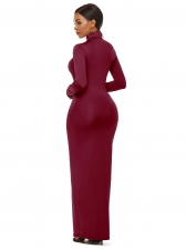 Turtle Neck Solid Long Sleeve Maxi Dress